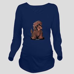 Brown Newfie Long Sleeve Maternity T-Shirt