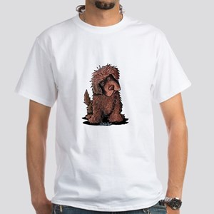 Brown Newfie White T-Shirt