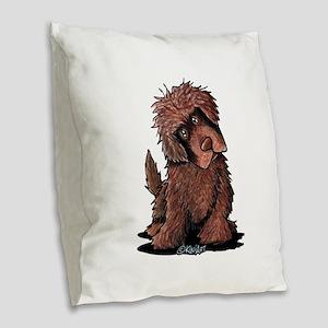 Brown Newfie Burlap Throw Pillow