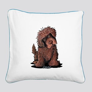 Brown Newfie Square Canvas Pillow