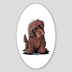 Brown Newfie Sticker (Oval)
