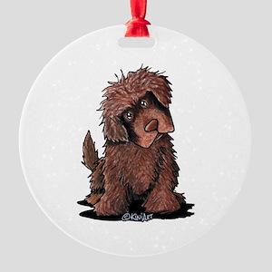 Brown Newfie Round Ornament