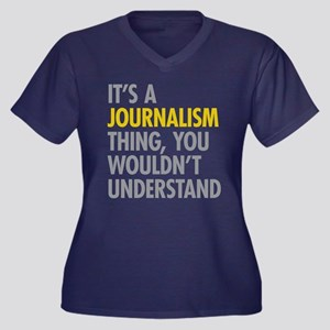 Its A Journa Women's Plus Size V-Neck Dark T-Shirt