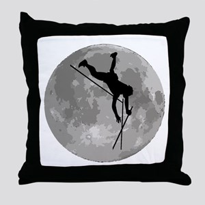 Pole Vaulter Moon Throw Pillow