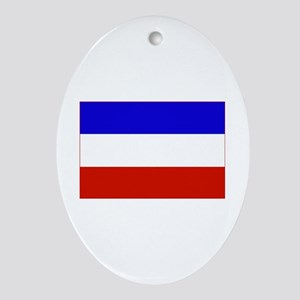 serbia and montenegro flag Oval Ornament