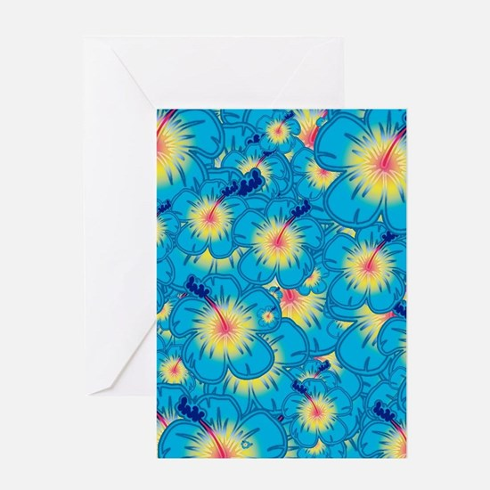 Light blue hibiscus Greeting Cards
