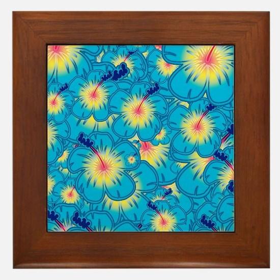Light blue hibiscus Framed Tile