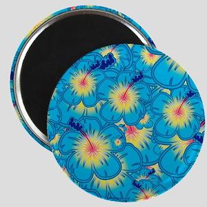 Light blue hibiscus Magnets