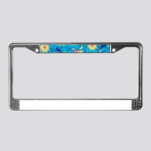 Light blue hibiscus License Plate Frame