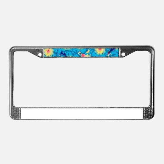 Light blue hibiscus License Plate Frame