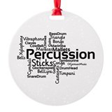 Marching drum line christmas tree Round Ornament