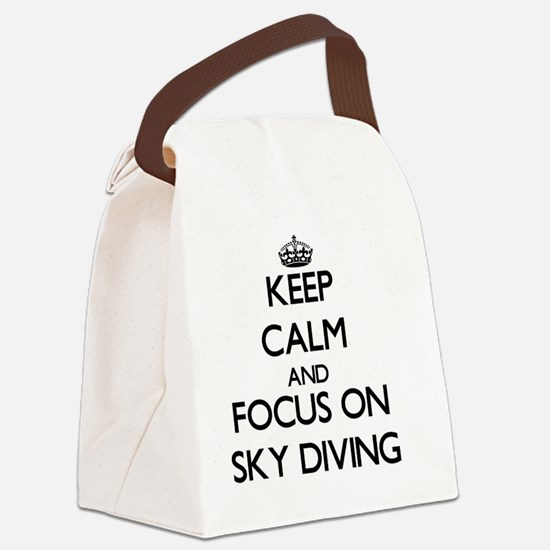 Keep Calm and focus on Sky Diving Canvas Lunch Bag