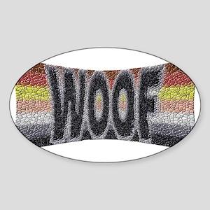 BEAR PRIDE WOOF BOWTIE Oval Sticker
