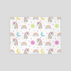 Rainbow Unicorn Pattern 5'x7'Area Rug