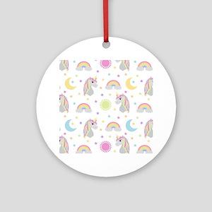 Rainbow Unicorn Pattern Round Ornament