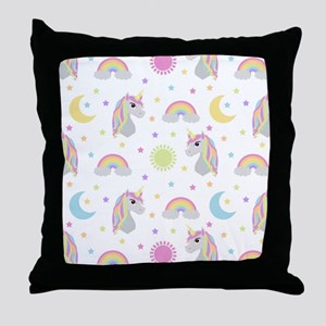 Rainbow Unicorn Pattern Throw Pillow