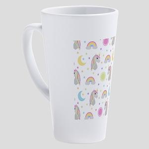 Rainbow Unicorn Pattern 17 oz Latte Mug