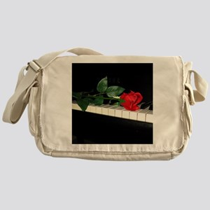 Rose on Piano 2 Messenger Bag