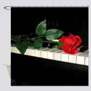 Rose on Piano 2 Shower Curtain