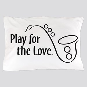 PLAY FOR THE LOVE SAXOPHONE black Pillow Case