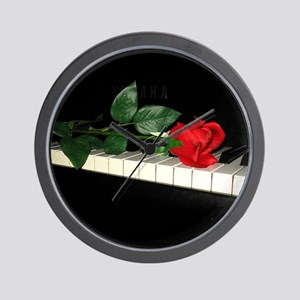 Rose on Piano 2 Wall Clock