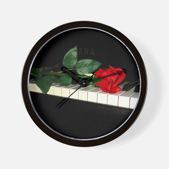 Rose on Piano 2 Wall Clock