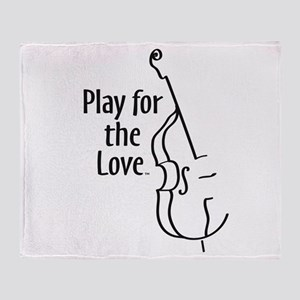 PLAY FOR THE LOVE BASS black Throw Blanket