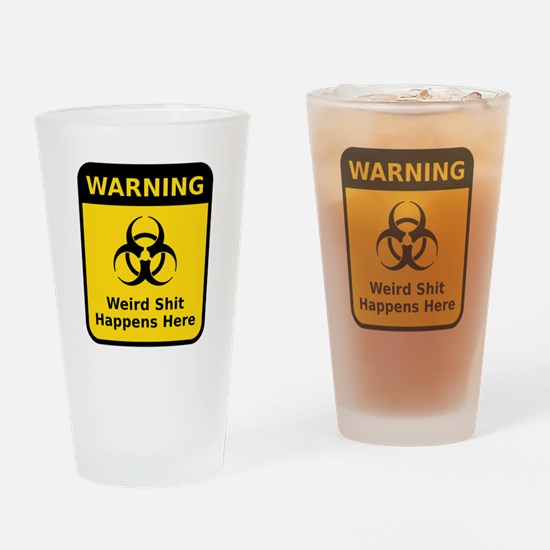 Weird Warning Sign Drinking Glass