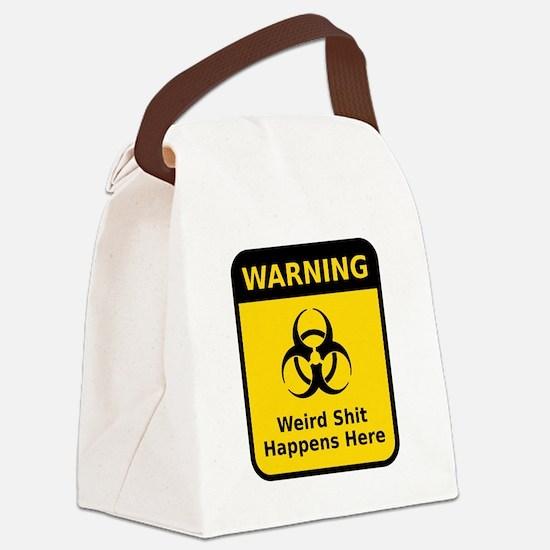 Weird Warning Sign Canvas Lunch Bag