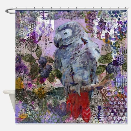 Purple Parrot Bathroom Shower Curtain