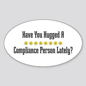 Hugged Compliance Person Oval Sticker