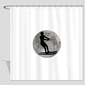 Water Skier Moon Shower Curtain