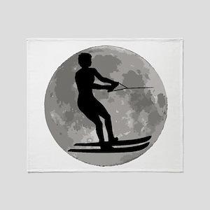 Water Skier Moon Throw Blanket