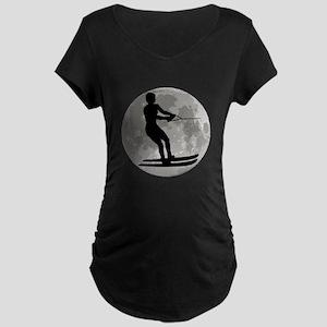 Water Skier Moon Maternity T-Shirt