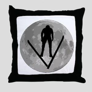 Ski Jumper Moon Throw Pillow