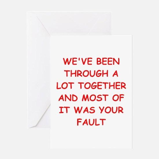 blame Greeting Card