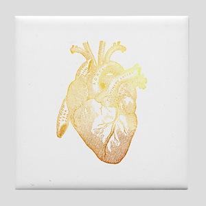 Anatomical Heart - Gold Tile Coaster