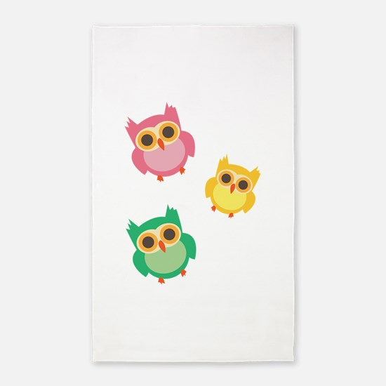Colorful Owls 3'x5' Area Rug