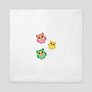 Colorful Owls Queen Duvet