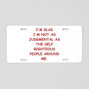 self righteous Aluminum License Plate