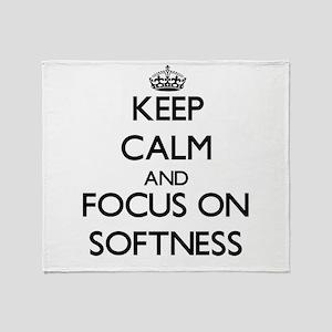 Keep Calm and focus on Softness Throw Blanket