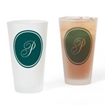 Personalized Turquoise Circle Drinking Glass