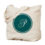 Personalized Turquoise Circle Tote Bag