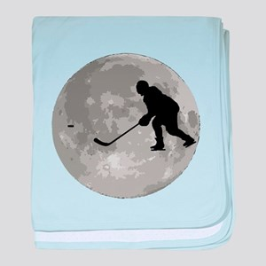 Hockey Player Moon baby blanket