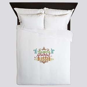 thankful, grateful, blessed Queen Duvet