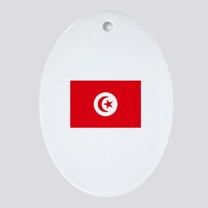 tunisia flag Oval Ornament