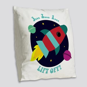 Lift Off Burlap Throw Pillow