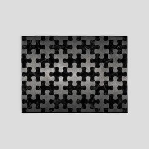 PUZZLE1 BLACK MARBLE & GRAY METAL 1 5'x7'Area Rug
