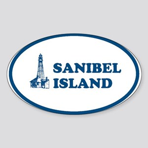 Sanibel Island Light House Oval Sticker