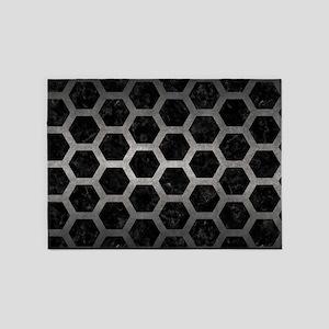 HEXAGON2 BLACK MARBLE & GRAY METAL 5'x7'Area Rug